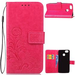 Embossing Imprint Four-Leaf Clover Leather Wallet Case for Asus Zenfone 3 Zoom ZE553KL - Rose