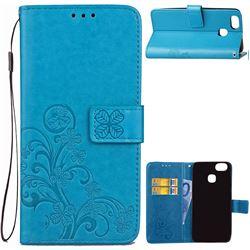 Embossing Imprint Four-Leaf Clover Leather Wallet Case for Asus Zenfone 3 Zoom ZE553KL - Blue