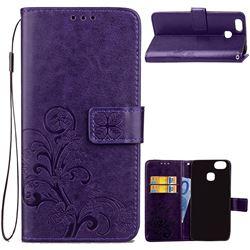 Embossing Imprint Four-Leaf Clover Leather Wallet Case for Asus Zenfone 3 Zoom ZE553KL - Purple
