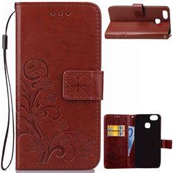 Embossing Imprint Four-Leaf Clover Leather Wallet Case for Asus Zenfone 3 Zoom ZE553KL - Brown