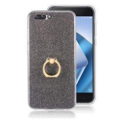 Luxury Soft TPU Glitter Back Ring Cover with 360 Rotate Finger Holder Buckle for Asus Zenfone 4 ZE554KL - Black