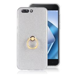 Luxury Soft TPU Glitter Back Ring Cover with 360 Rotate Finger Holder Buckle for Asus Zenfone 4 ZE554KL - White