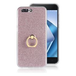 Luxury Soft TPU Glitter Back Ring Cover with 360 Rotate Finger Holder Buckle for Asus Zenfone 4 ZE554KL - Pink
