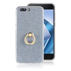 Luxury Soft TPU Glitter Back Ring Cover with 360 Rotate Finger Holder Buckle for Asus Zenfone 4 ZE554KL - Blue