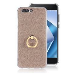 Luxury Soft TPU Glitter Back Ring Cover with 360 Rotate Finger Holder Buckle for Asus Zenfone 4 ZE554KL - Golden