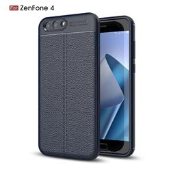 Luxury Auto Focus Litchi Texture Silicone TPU Back Cover for Asus Zenfone 4 ZE554KL - Dark Blue