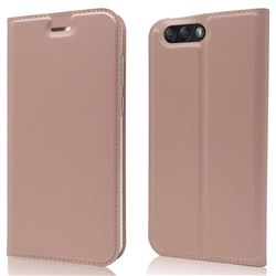 Ultra Slim Card Magnetic Automatic Suction Leather Wallet Case for Asus Zenfone 4 ZE554KL - Rose Gold