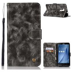 Luxury Retro Leather Wallet Case for Asus Zenfone 2 Laser ZE601KL - Gray