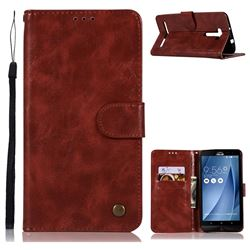 Luxury Retro Leather Wallet Case for Asus Zenfone 2 Laser ZE601KL - Wine Red