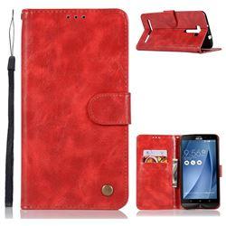 Luxury Retro Leather Wallet Case for Asus Zenfone 2 Laser ZE601KL - Red