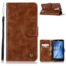 Luxury Retro Leather Wallet Case for Asus Zenfone 2 Laser ZE601KL - Brown