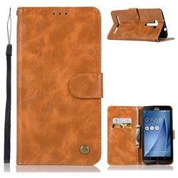 Luxury Retro Leather Wallet Case for Asus Zenfone 2 Laser ZE601KL - Golden