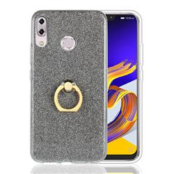 Luxury Soft TPU Glitter Back Ring Cover with 360 Rotate Finger Holder Buckle for Asus Zenfone 5 ZE620KL - Black