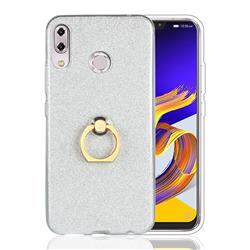 Luxury Soft TPU Glitter Back Ring Cover with 360 Rotate Finger Holder Buckle for Asus Zenfone 5 ZE620KL - White