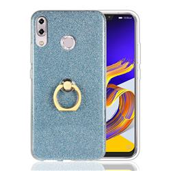 Luxury Soft TPU Glitter Back Ring Cover with 360 Rotate Finger Holder Buckle for Asus Zenfone 5 ZE620KL - Blue