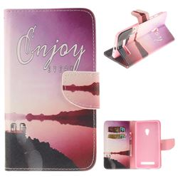 Seaside Scenery PU Leather Wallet Case for Asus ZenFone 5 (A500CG/A501CG), LTE (A500KL)