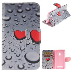 Heart Raindrop PU Leather Wallet Case for Asus ZenFone 5 (A500CG/A501CG), LTE (A500KL)