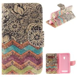 Wave Flower PU Leather Wallet Case for Asus ZenFone 5 (A500CG/A501CG), LTE (A500KL)