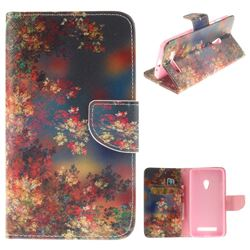 Colored Flowers PU Leather Wallet Case for Asus ZenFone 5 (A500CG/A501CG), LTE (A500KL)