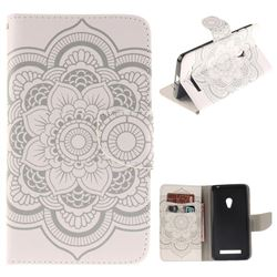 White Flowers PU Leather Wallet Case for Asus ZenFone 5 (A500CG/A501CG), LTE (A500KL)