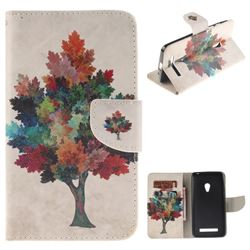 Colored Tree PU Leather Wallet Case for Asus ZenFone 5 (A500CG/A501CG), LTE (A500KL)