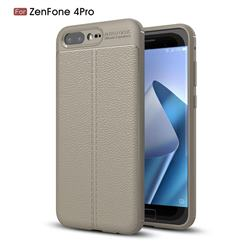 Luxury Auto Focus Litchi Texture Silicone TPU Back Cover for Asus Zenfone 4 Pro ZS551KL - Gray