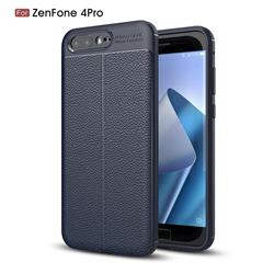 Luxury Auto Focus Litchi Texture Silicone TPU Back Cover for Asus Zenfone 4 Pro ZS551KL - Dark Blue