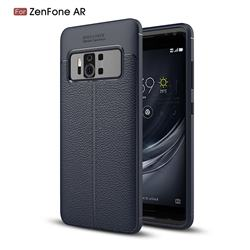 Luxury Auto Focus Litchi Texture Silicone TPU Back Cover for Asus Zenfone AR ZS571KL - Dark Blue