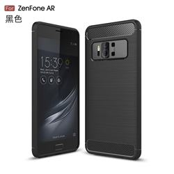Luxury Carbon Fiber Brushed Wire Drawing Silicone TPU Back Cover for Asus Zenfone AR ZS571KL - Black