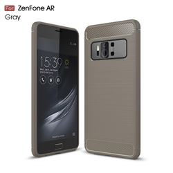Luxury Carbon Fiber Brushed Wire Drawing Silicone TPU Back Cover for Asus Zenfone AR ZS571KL - Gray