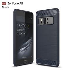 Luxury Carbon Fiber Brushed Wire Drawing Silicone TPU Back Cover for Asus Zenfone AR ZS571KL - Navy