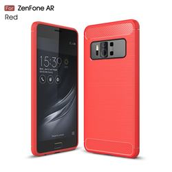 Luxury Carbon Fiber Brushed Wire Drawing Silicone TPU Back Cover for Asus Zenfone AR ZS571KL - Red