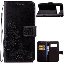 Embossing Imprint Four-Leaf Clover Leather Wallet Case for Asus Zenfone AR ZS571KL - Black