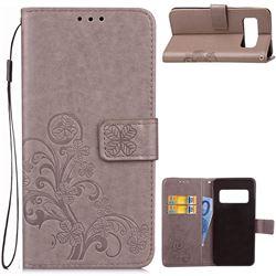 Embossing Imprint Four-Leaf Clover Leather Wallet Case for Asus Zenfone AR ZS571KL - Grey