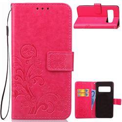 Embossing Imprint Four-Leaf Clover Leather Wallet Case for Asus Zenfone AR ZS571KL - Rose