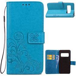 Embossing Imprint Four-Leaf Clover Leather Wallet Case for Asus Zenfone AR ZS571KL - Blue