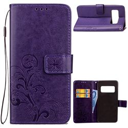 Embossing Imprint Four-Leaf Clover Leather Wallet Case for Asus Zenfone AR ZS571KL - Purple