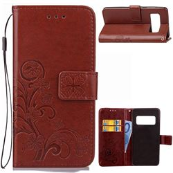 Embossing Imprint Four-Leaf Clover Leather Wallet Case for Asus Zenfone AR ZS571KL - Brown
