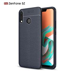 Luxury Auto Focus Litchi Texture Silicone TPU Back Cover for Asus Zenfone 5Z ZS620KL - Dark Blue