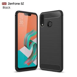 Luxury Carbon Fiber Brushed Wire Drawing Silicone TPU Back Cover for Asus Zenfone 5Z ZS620KL - Black