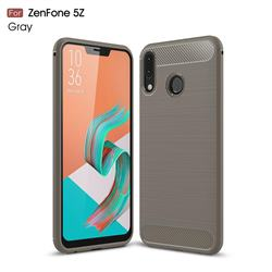 Luxury Carbon Fiber Brushed Wire Drawing Silicone TPU Back Cover for Asus Zenfone 5Z ZS620KL - Gray