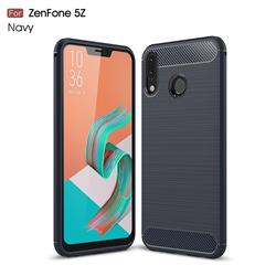 Luxury Carbon Fiber Brushed Wire Drawing Silicone TPU Back Cover for Asus Zenfone 5Z ZS620KL - Navy