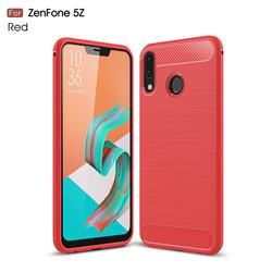 Luxury Carbon Fiber Brushed Wire Drawing Silicone TPU Back Cover for Asus Zenfone 5Z ZS620KL - Red