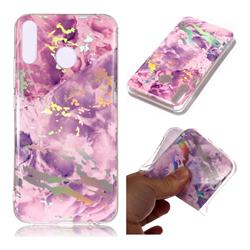 Purple Marble Pattern Bright Color Laser Soft TPU Case for Asus Zenfone 5Z ZS620KL