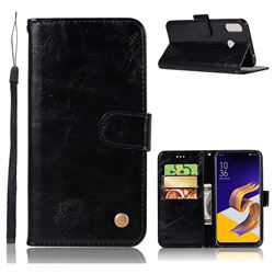 Luxury Retro Leather Wallet Case for Asus Zenfone 5Z ZS620KL - Black