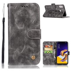 Luxury Retro Leather Wallet Case for Asus Zenfone 5Z ZS620KL - Gray