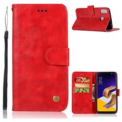 Luxury Retro Leather Wallet Case for Asus Zenfone 5Z ZS620KL - Red