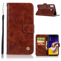 Luxury Retro Leather Wallet Case for Asus Zenfone 5Z ZS620KL - Brown