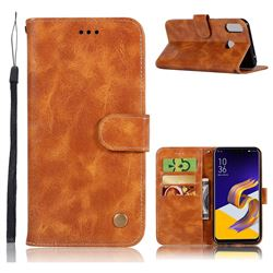 Luxury Retro Leather Wallet Case for Asus Zenfone 5Z ZS620KL - Golden