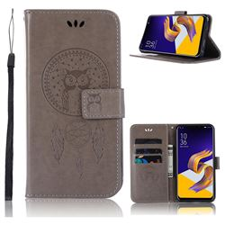 Intricate Embossing Owl Campanula Leather Wallet Case for Asus Zenfone 5Z ZS620KL - Grey